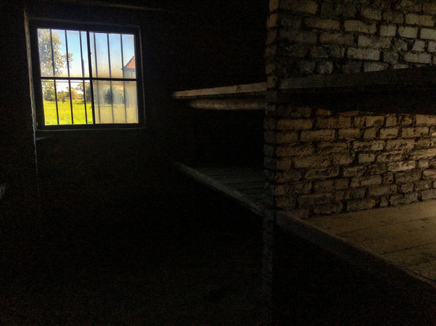 A sobering shot of the bunks people had to cram into at Auschwitz juxtuposed to the nice sunny day outside, the left side of the composition feels hopeful and almost promising behind the barred window, the room empty now used to have people piled on top of one another in these coffin like bunks.