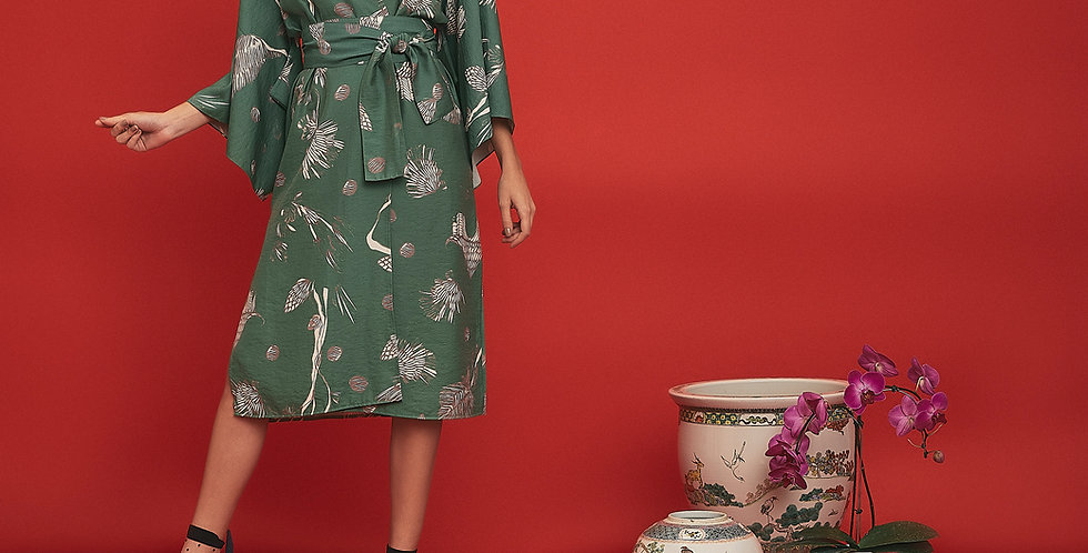 Maxi Kimono de Linho Estampado