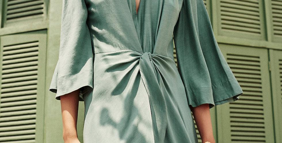 Vestido Sarongue Linho com seda