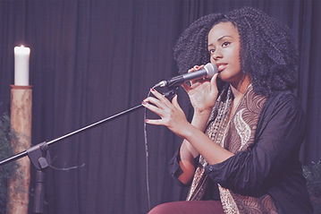 Lady singing at Amateur Night at Jazz in the City 2019