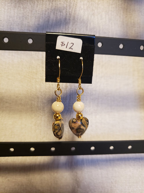 Leopard Skin Jasper and Howlite Earring
