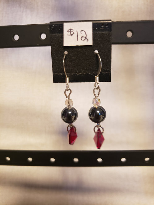 Hematite and Swarovski Crystal Heart Earrings