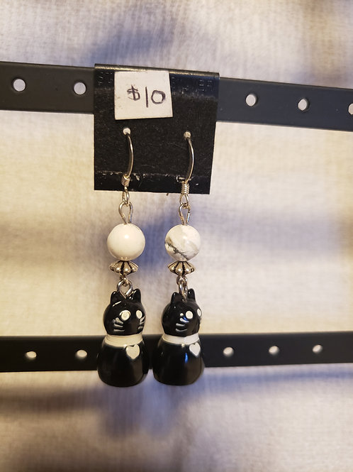 Howlite Black Cat Earrings