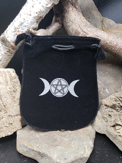 Black Velvet Three Moon Pentacle Small Witch Bag