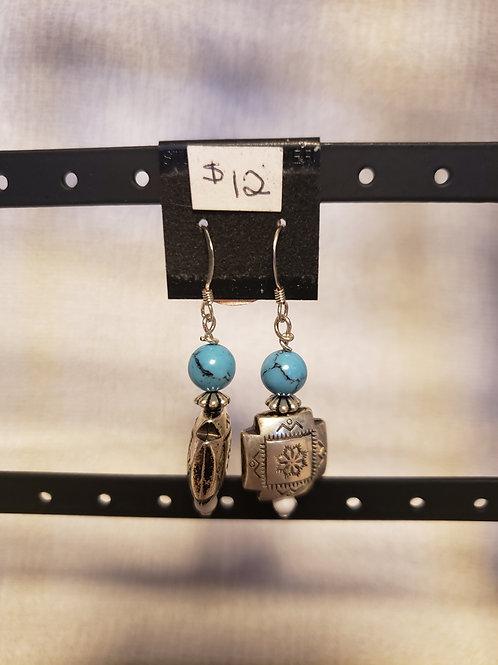 Turquoise and Howlite Tribal Earrings