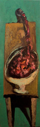 Vase with Entrails, 150x50, oil on canvas