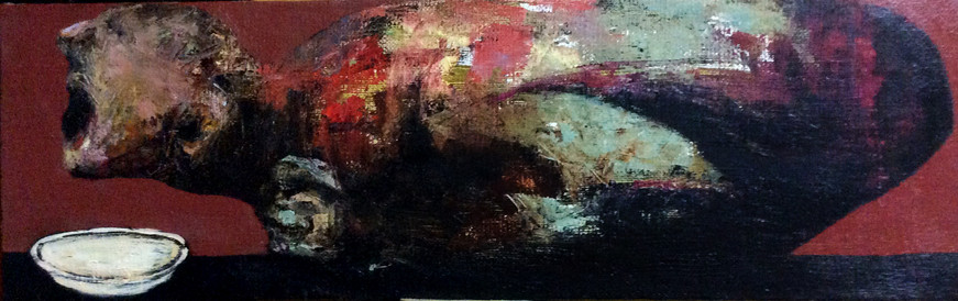 By a Plate, 100x30, oil on canvas