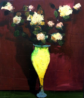 Flowers in Yellow Vase, 110x95, oil on carboard