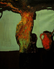 Tree with Red Aftafa, 100х79, oil on canvas