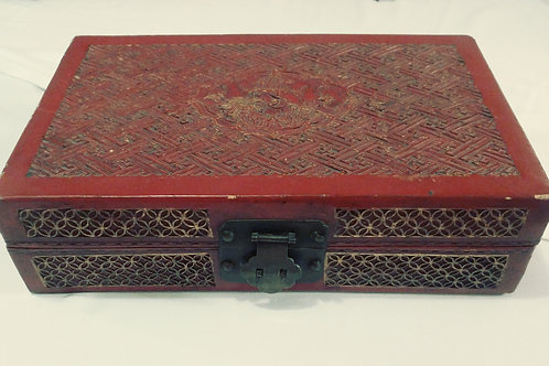 Antique Asian Leather Imperial Scholar Box