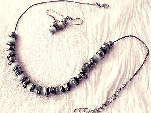 Cat's Eye Moonstone and Silver Beaded Necklace, Matching Earrings