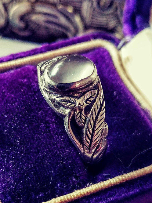 Art Deco Moonstone Ring - .925 Silver  - Size 8