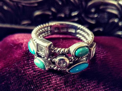 Joseph Esposito (ESPO) Turquoise Cable Ring - Size 9