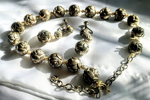 Antique Hollow Bead Art Deco Necklace, Matching Earrings