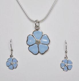 Summer Sky Blue Enamel Flower Necklace a