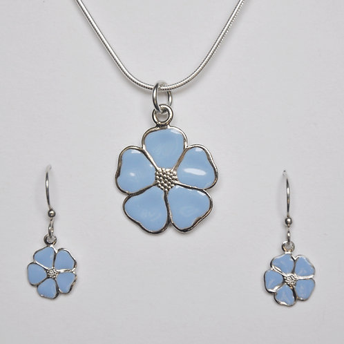 Summer Sky Blue Flower Necklace and Earring Set