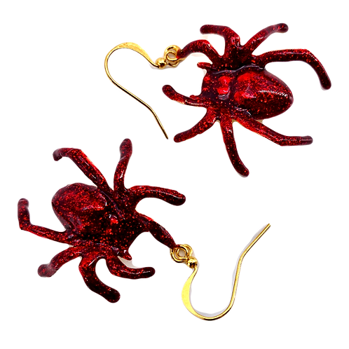 Red Glitter Spider Earrings
