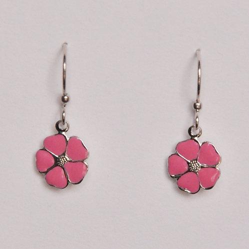 Punch Pink Flower Earrings