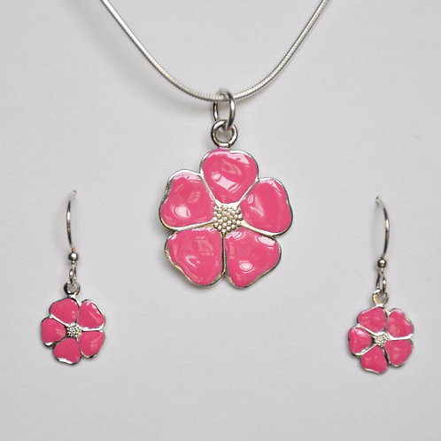 Punch Pink Flower Necklace and Earring Set