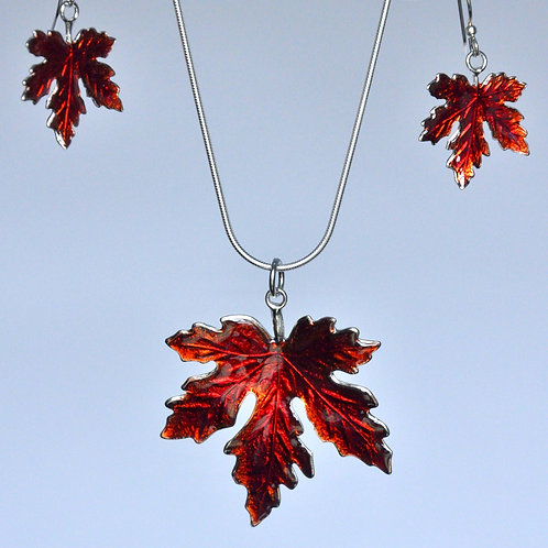 Maple Leaf Earrings and Necklace Set