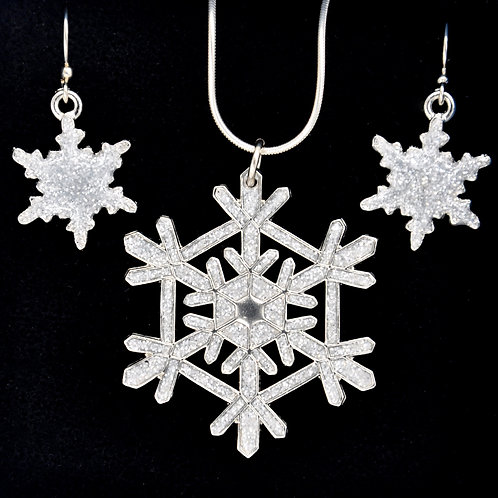 Glitter White Snowflake Necklace and Earrings Set