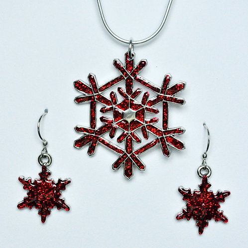 Red Glitter Snowflake Necklace and Earring Set