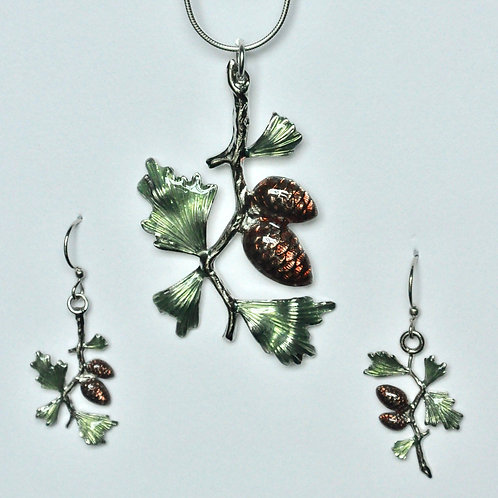 Pinecone Necklace and Earring Set