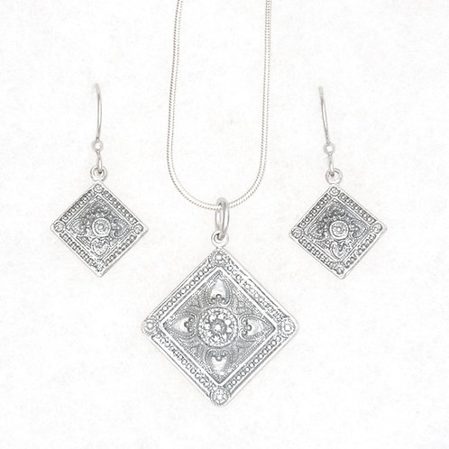 Square Necklace and Earrings Set