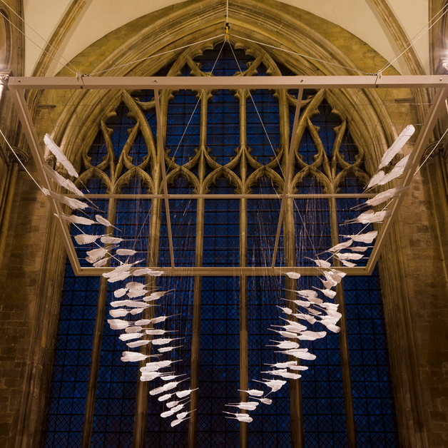 Homing. 6x5x5.5 metre installation in Chichester Cathedral. Photo: Duncan McNeill.