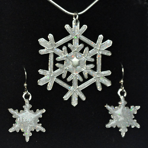 Aurora Borealis Snowflake Necklace and Earrings Set