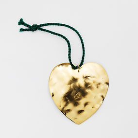gold hammered heart ornament