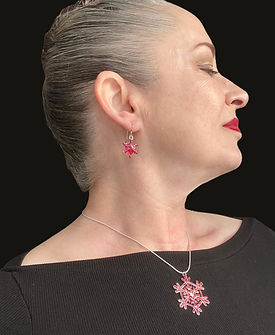 glitter red enamel snowflake necklace an