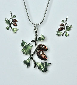 enamel pinecone necklace and post earrin