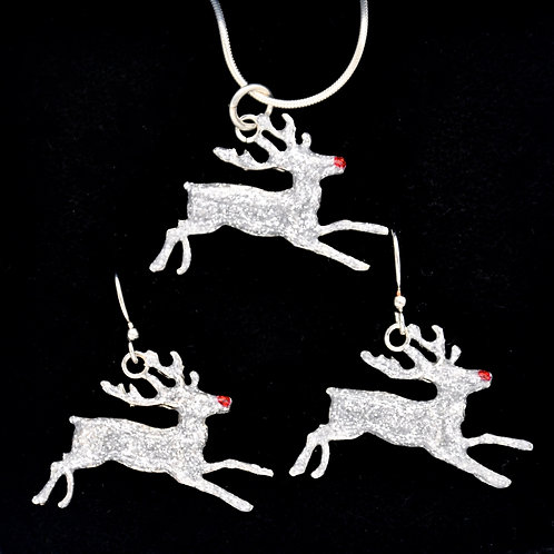 Rudolph Reindeer Necklace and Earring Set