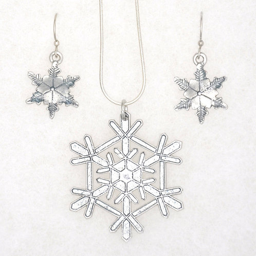 Ice Blue Snowflake Necklace and Earrings Set