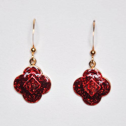 Bright Red Glitter Quatrefoil Earrings