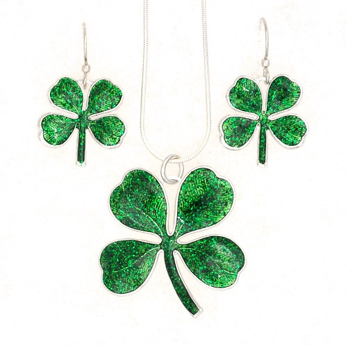 4 Leaf Clover Necklace and Earrings Set