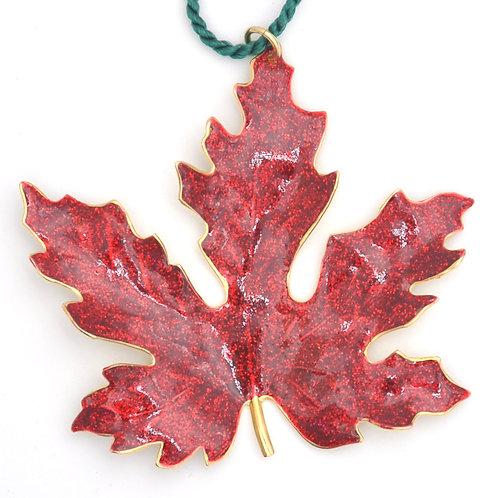 Maple Leaf Ornament Bright Red Glitter