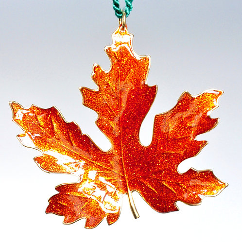 Orange Glitter Maple Leaf Ornament