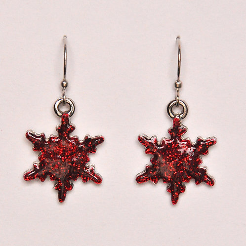 Bright Red Glitter Snowflake Earrings