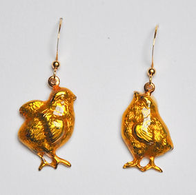 chick earrings yellow enamel