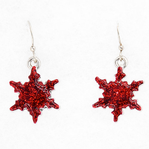 Bright Red Glitter Snowflake Earrings