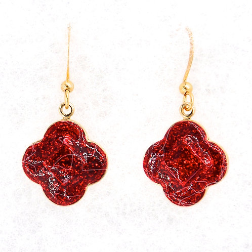 Bright Red Glitter Quatrefoil Earrings