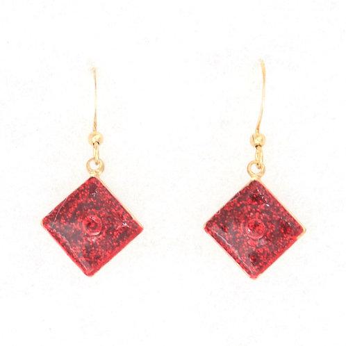 Square Earrings Red Glitter