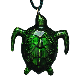 green enamel sea turtle ornament
