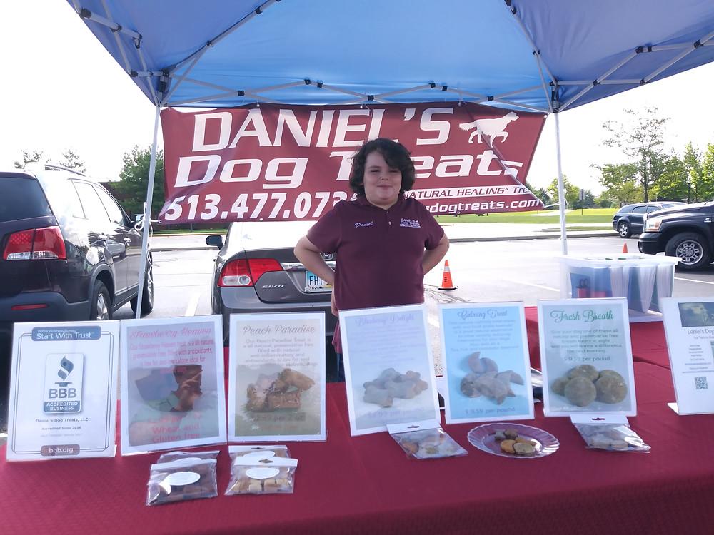 Daniel at the Mason Farmers market