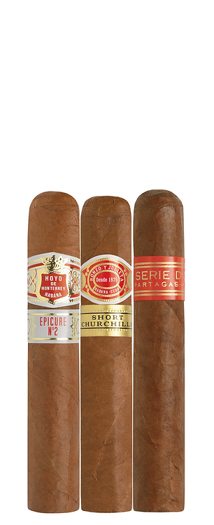 Cigar sampler : Epicure no 2,  short churchill, Partagas D No 4  available to purchase from Robuso House store.