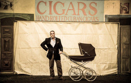 Simon Selkin and our famous cigar pram at Robusto House Ltd