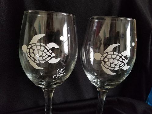 Salty Sea Turtle Wine Glass Set