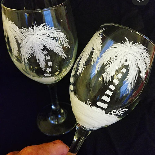 Salty Palms Wine Glass Set